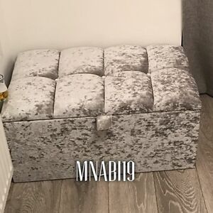 SILVER CRUSHED VELVET OTTOMAN 30 INCH STORAGE BOX BEDROOM CHEST TRUNK SALE NEW