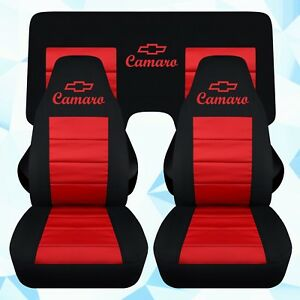fr+rear(3pc) car seat covers in blk-red w/design fits 1993-2002 chevy camaro