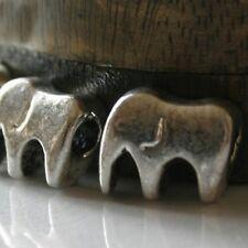 3 Éléphants Perles Métal - PLAQUE ARGENT - 12X16 mm