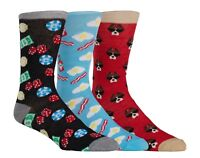 Three 3 Pack Novelty Socks Poker Gambling Bacon Eggs Boxer Dog Sunglasses Mens