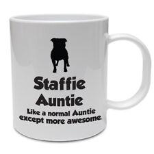 Staffordshire Bull Terrier Dog Mug - STAFFIE AUNTIE - Funny Staffie Dog Gift