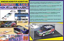 ANEXO DECAL 1/43 FORD FIESTA RS WRC M.HIRVONEN R.AUSTRALIA 2011 WINNER (04)