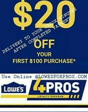 4X LOWES 20 off 100OnlineCOUPON/PROMO CODE @LOWES4PROS inbox Delivery