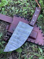 AUK-95 Custom Handmade Damascus Steel Serbian Chef Knife Cleaver