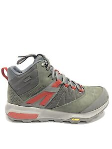 Merrell Men's Zion Mid, Gray/Olive Waterproof Hiking Boots, Size 8.5M.