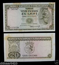 East Timor Paper Money 20 ESCUDOS 1967 AU
