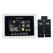 Weather Station Temperature  WWVB DCF 3 Wireless Sensor Moonphase Alarm Function