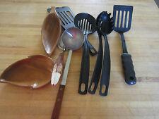 vintage utensils,cooking, kitchen collectibles- wood,plastic,metal scoops,flips