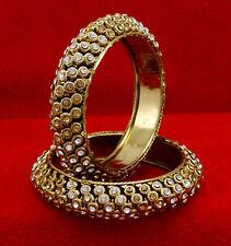 Goldtone Ethnic Traditional Indian Kada Bangles Wedding Bracelet Jewelry 2*6