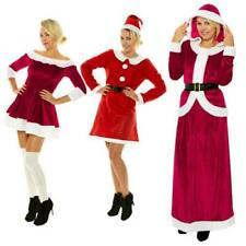 Miss Santa Costume Women Mrs Claus Father Christmas Xmas Fancy Dress Outfit Elf