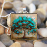 life Tree Art Cabochon Glass Silver Tile Chain Pendant Necklace Fashion Jewelry