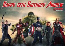 THE AVENGERS MARVEL SUPERHEROS A4 Icing Sugar Birthday Cake Topper image M5
