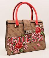 GUESS Small Shoulder / Crossbody Floral Logo VIKKY Bag, Natural/Red
