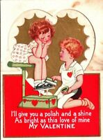 Vintage Die Cut Embossed Valentine Card Girl Boy Shoe Shine Polish Fold Up