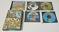 TYCOON video game lot of 6 PC - CD ROM (Zoo, Roller Coaster, Deep Sea, Monopoly)