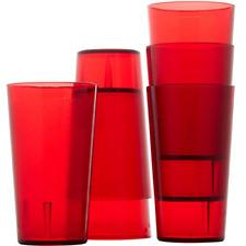 6 pk Restaurant Grade BPA Free Red Plastic Cup Resistant Drinking Glasses 12oz