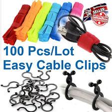 100 Pcs/Lot - Reusable Hook & Look Cable Organizer Set 50X Ties/Bands, 50X Clips