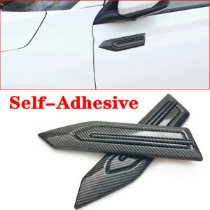 2x Car Leaf Board Carbon Fiber Side Fender Cover Self-Adhesive ABS 25.4*6*0.8CM
