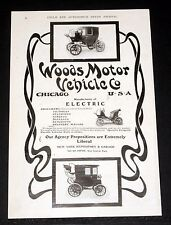1903 OLD MAGAZINE PRINT AD, WOODS ELECTRIC MOTOR VEHICLES, MOST ECONOMICAL GEAR!
