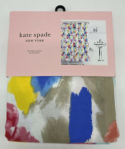 """KATE SPADE New York Fabric SHOWER CURTAIN Paintball Floral 72"""" x 72"""" White - NEW"""
