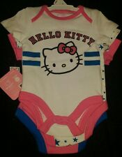 HELLO KITTY BABY GIRL'S ALL STAR CUTIE 3-PACK BODYSUITS SZ 0-3M