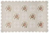 """Vinyl lace Placemats 12""""x18"""" Flower Design Set of 6  Floral Doily Nonslip"""