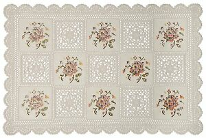 """Set of 4 Placemats Vinyl 12""""x18"""" Non Skid Indoor/Outdoor. Washable Lace Placemat"""