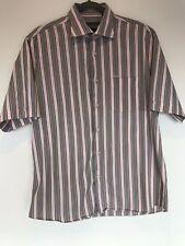 """Da Uomo Ungaro Rosa Blu a Righe Manica Corta Camicia Di Lusso Large 16"""" Cotone Lavoro UK"""