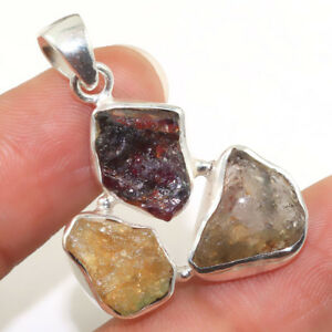 Solid 925 Sterling Silver Natural Rough Tourmaline Pendant Jewelry IN-1809