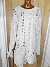Gorgeous cream chunky knit fringed ladder Zara jumper dress size 16 L