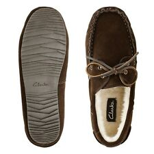 NEW! Clarks Mens Genuine Leather Moccasin Walk Slippers Shoes Brown size 11 FAST