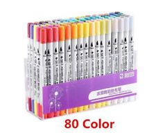 80 Colors Dual Tip Brush Markers Pens Art Paint Broad Fineliners Coloring Book