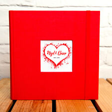 PERSONALISED LOVE HEART PHOTO ALBUM - HOLDS 200 6x4 PHOTOS - ADD YOUR NAMES/YEAR