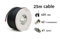25m BLACK RG6 Satellite freeview Digital TV Sky+ HD Aerial Coax Cable Coaxial