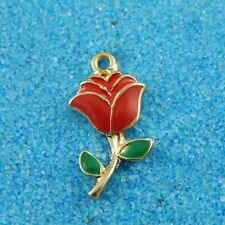 20pcs Golden Tone Alloy Red Rose Flower Craft Pendant Charms Jewelry 38928