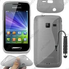 Housse Etui Coque Silicone S-line Gel Gris Samsung WAVE Y S5380 + Mini Stylet