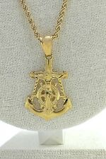 Anchor Crucifix Pendant Charm Piece Large, Gold Plated