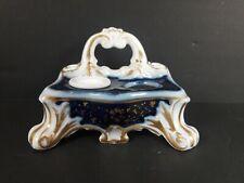 Antique 1800's Flow Blue, gold trimmed porcelain inkwell-KK