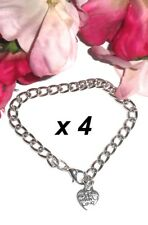 4 x CHILDS 'Made with Love'  Charm Bracelet Blanks - 6 inch (15cm)