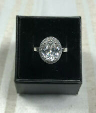 Womens 1.55Cttw 925 Sterling Silver Oval Cut Halo Engagement Ring