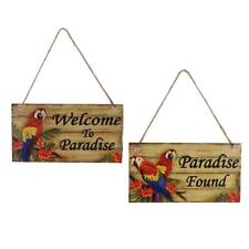 2pc Welcome to Paradise/Paradise Found Wooden Plaque Wall Door Hanging Decor