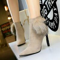 Womens Pointed Toe Pumps Ankle Boots High Heels Stiletto Party Shoes Hairball