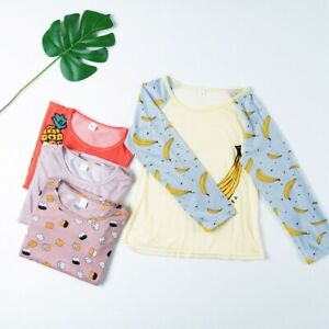 New Women Two Piece Homewear Sleepwear Cute Printed Soft Long Sleeve Pajama Sets
