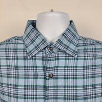Peter Millar Crown Sport Blue Green Check Plaid Mens Dress Button Shirt Large L