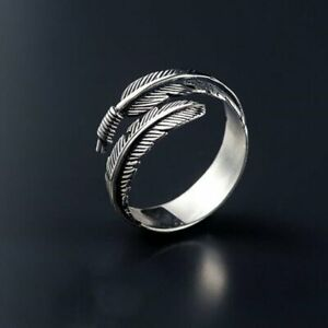 Punk Retro Silver Plated Feathers Arrow Open Ring Adjustable Woman Men Gifts