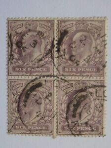 (1) used Great Britain Block of four stamps off paper-Scott # 135
