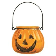 Pumpkin Glass Tealight Candle Holder Halloween Decoration With Handle