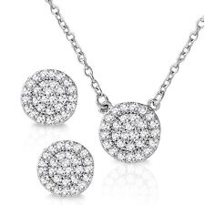 Simulated Diamonds Necklace and Stud Earring Set Genuine Sterling Silver