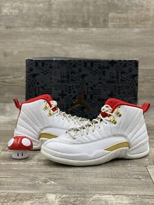 Nike Air Jordan Retro XII 12 FIBA Size 8 White Red Metallic Gold OG  130690-107