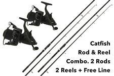NGT Dynamic Catfish Rod & XPR 60 Baitrunner Reel Combo x 2 + Free Line + P&P